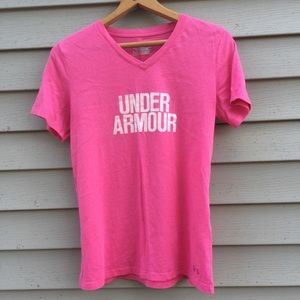 Pink Under Armour tee with a V neckline. Size M